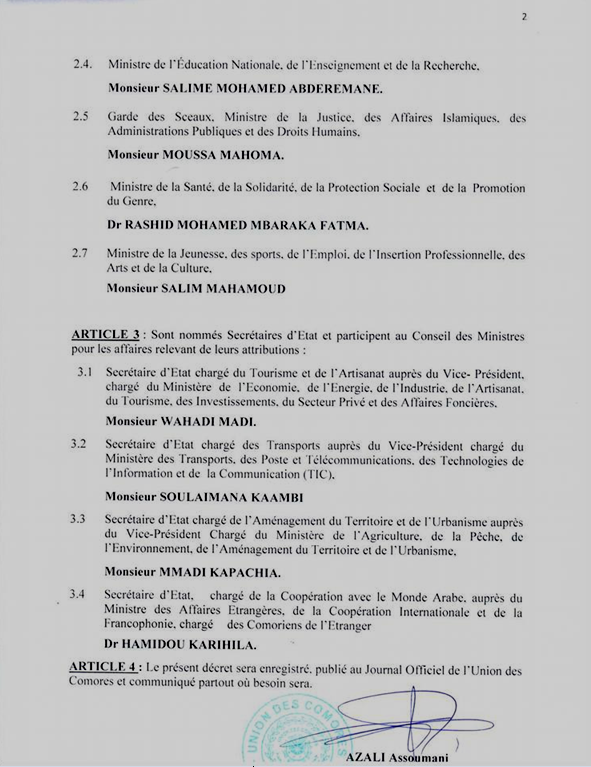 Azali II - Remaniement ministériel : quatre sortants et quatre nouveaux entrants