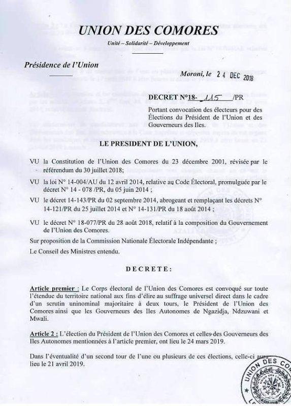 Par décret N°18-115/PR, Le président de la République convoque le corps électoral pour la présidentielle de 2019