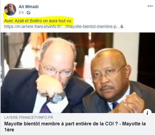 Mayotte peut devenir membre à part entière de la COI seulement si elle déclare son indépendance : La France étant déjà membre ne peut adhérer une 2eme fois