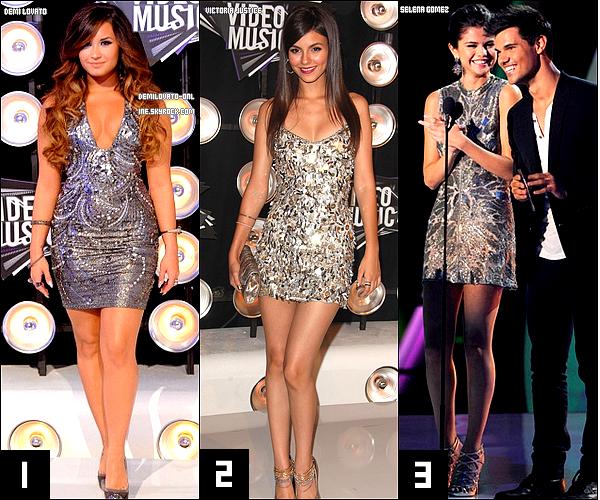 . Divertissements : Silver. . Demi Lovato, Victoria Justice, Selena Gomez, elles étaient à la cérémonie des « MTV Video Music Awards 2011 » qui selon toi avait la plus belle tenue argentée ? Vote !    .