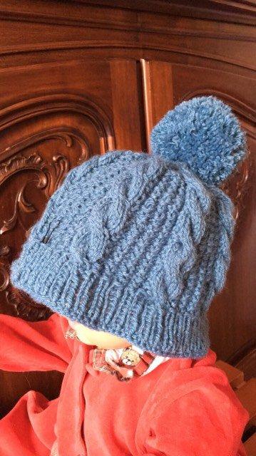 """voilà le bonnet bleu terminé, que j'ai promis à """"Mimo""""..."""