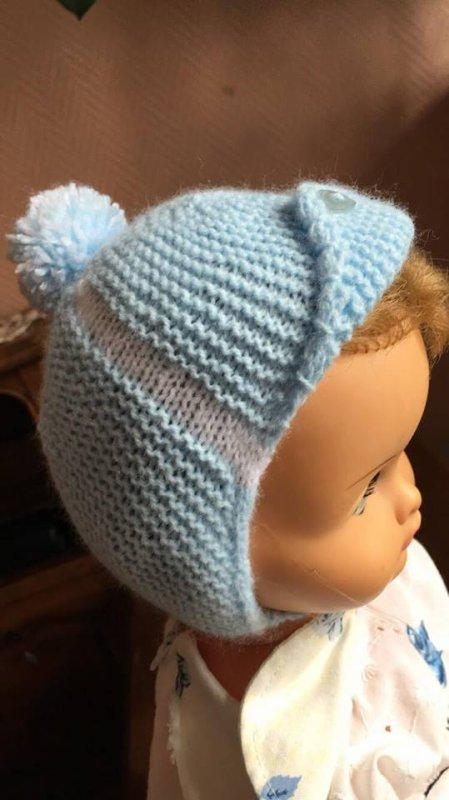 """un bonnet """"aviateur Linberg"""" pour un petit garçon qui va bientôt pointer son petit nez..."""