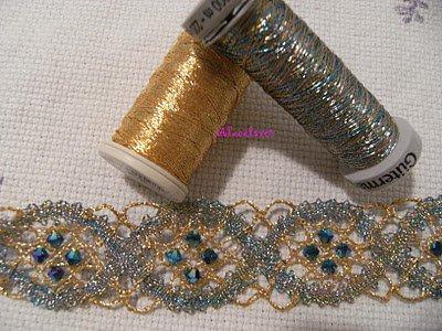 - Bracelet Dentelle au fuseaux et perles -