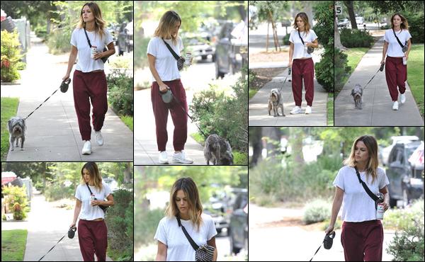 08/07/2019 : Rachel Bilson a été aperçue en train de promener son chien dans la ville de ─ Los Angeles .C'est dans une tenue très décontractée que l'on retrouve Rachel pour une petite promenade dans les rues de L.A
