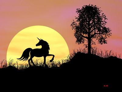 Une petite forêt et Une licorne devant un couché de soleil. J'ai utilisé le logiciel Bryce 7.0