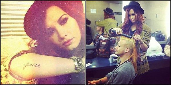 """Et oui, Demi a encore un nouveau tatouage ! Comme vous pouvez le voir il y a écrit: """"Faith"""" ce qui signifie en français: """"Foi"""". D'ailleurs Demi a publier cette photo sur twitter en mettant en légende: """"Parfois vous avez juste obtenu d'avoir unpeu de ...."""". Qu'en pensez-vous? Et plus, une photo ou Demi coiffe (surement) un ami a elle. Elle a publiée cette photo sur twitter avec en légende: """"Je suis aussi une styliste de cheveux .... hehe"""". Que pensez-vous de ceci ?"""