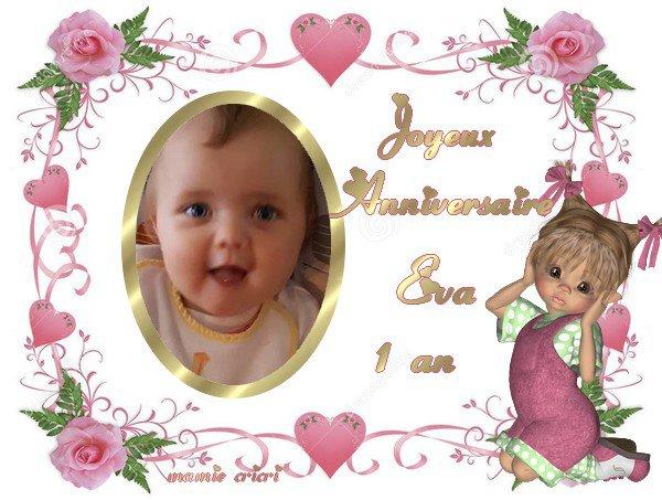 Bon anniversaire a ma petite Éva pour sa 1 ère année gros bisous mamie Tic tac