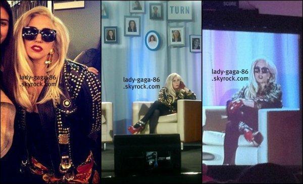 """04/02/12 - Lady Gaga était l'invitée surprise de la conférence """"Young Women""""."""