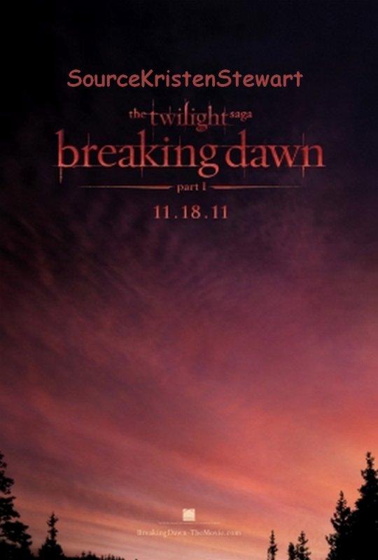 Découvrez l'affiche de la première partie de Breaking Dawn .Kristen était à Londres il y a quelques semaines .