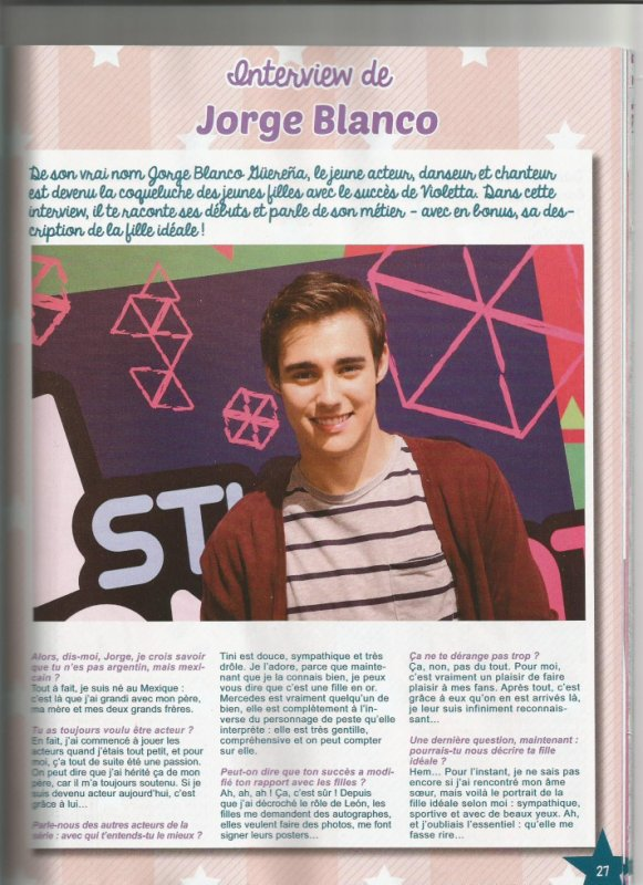 Interview de Jorge Blanco​ @JorgeBlancoG pour le Magazine Star Direction spécial Violetta