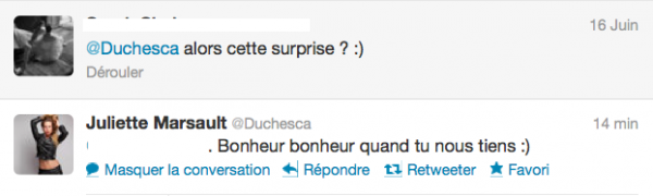 News twitter de juliette 17/06/12