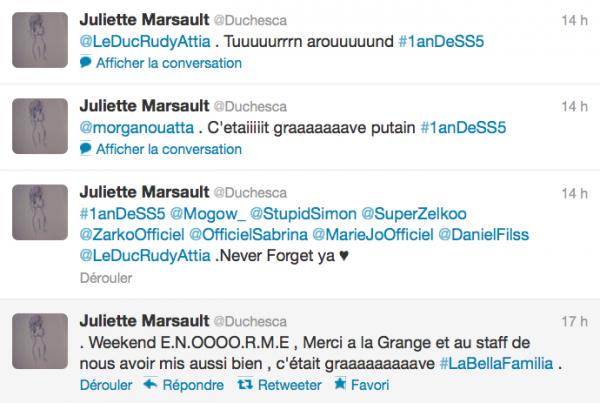 News twitter de Juliette 8/07/12