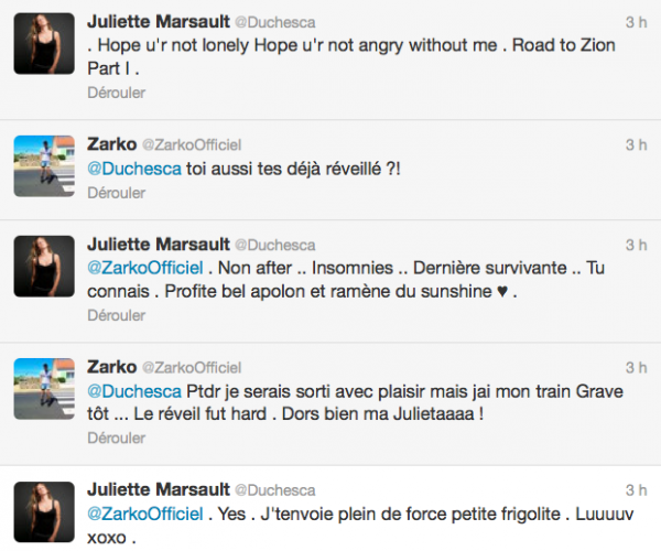 News twitter de juliette 21/07/12