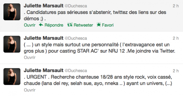 News twitter de Juliette 29/08/12