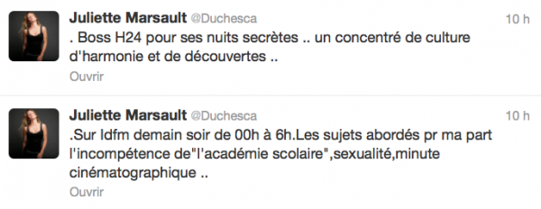 News twitter de Juliette 30/08/12