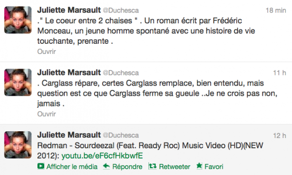 News twitter de juliette 14/09/12