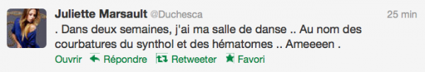 News twitter de juliette 26/09/12