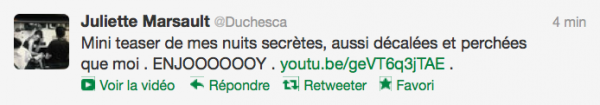 News twitter de juliette 03/10/12