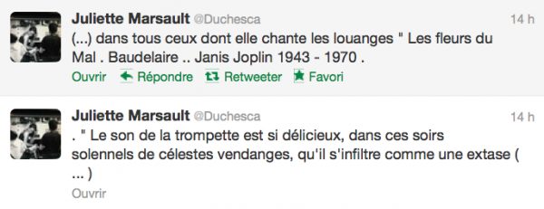 News twitter de juliette 04/10/12