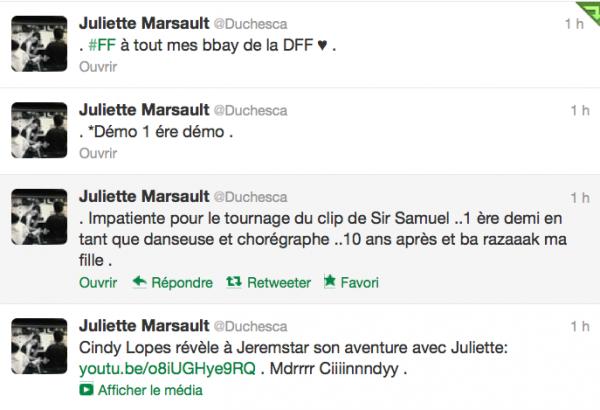 News twitter de juliette 05/10/12