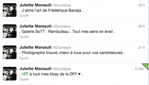 News twitter de juliette 05/10/12 suite