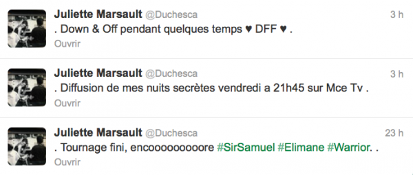 News twitter de juliette 08/10/12