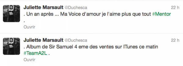 News twitter de juliette 17/10/12