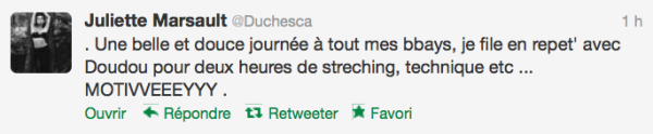 News twitter de juliette 18/10/12