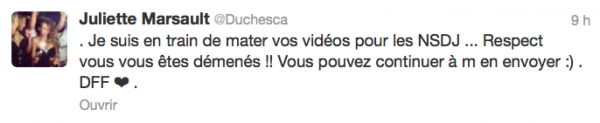 News twitter de juliette 29/10/12