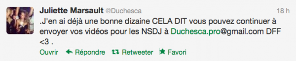 News twitter de juliette 31/10/12