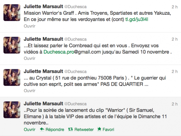 News twitter de juliette 07/11/12