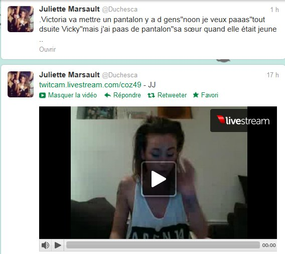 News twitter de Juliette 07/11/12 et du 08/11/12  et du 09/11/12