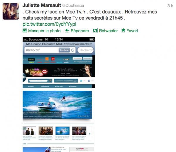 News twitter de juliette 15/11/12