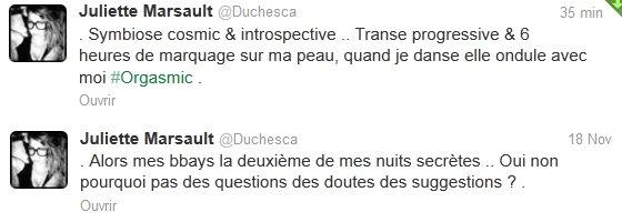 News twitter de Juliette du 18/11/12 et du 19/11/12