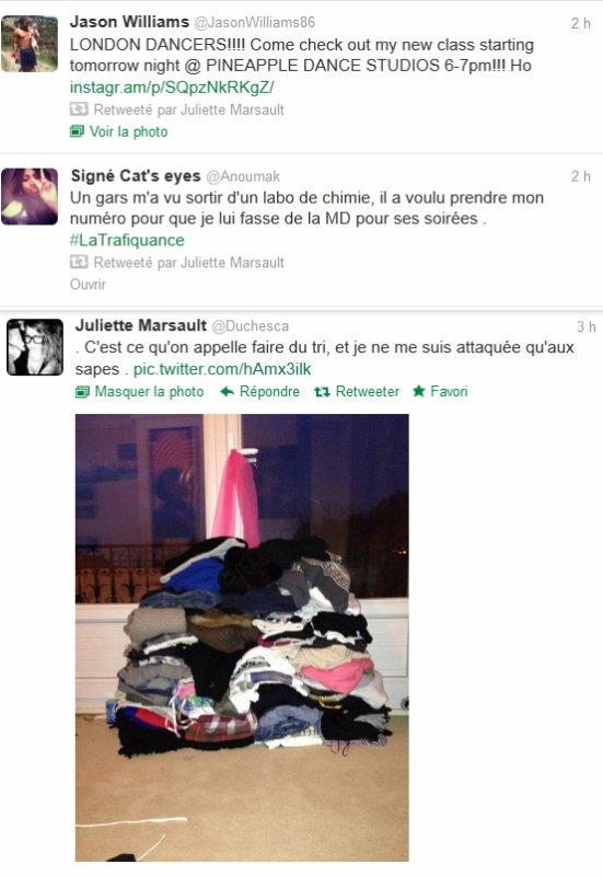 News twitter de Juliette du 20/11/12