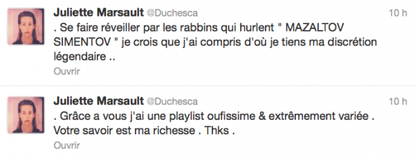 News twitter de juliette 22/11/12