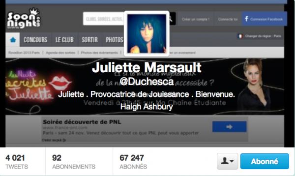 Nouvelle PP et entête de Juliette sur Twitter