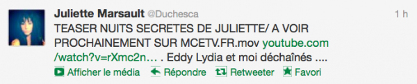 News twitter de juliette 25/11/12