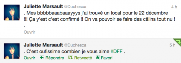 News twitter de juliette 05/12/12
