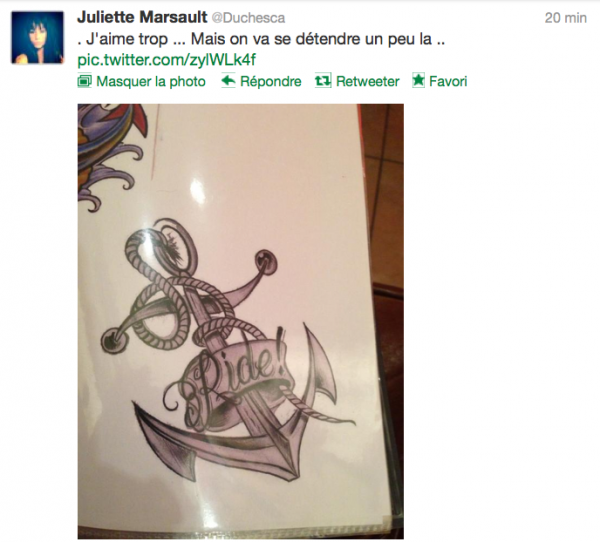 News twitter de juliette 07/12/12