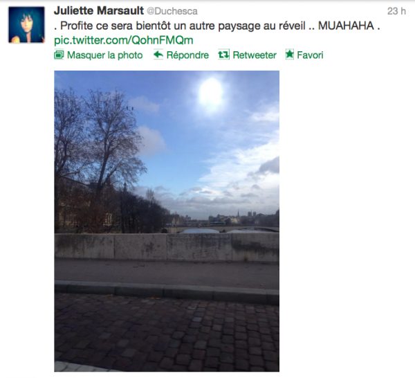 News twitter de juliette 16/12/12