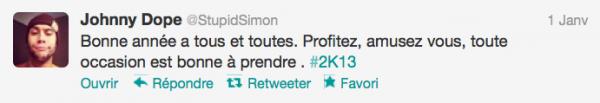 News twitter de Simon derniérement