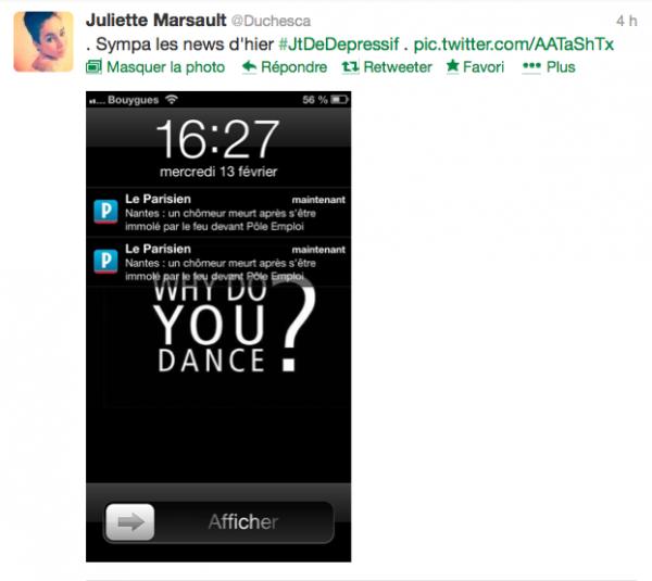 News twitter de juliette 14/02/13