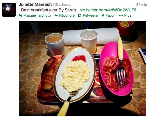 Le petit déjeuner de Juliette ;) Tweet et photo du 24.02.13