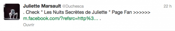 News twitter de juliette 25/02/13