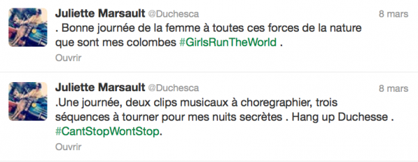 News twitter de juliette 8/03/13