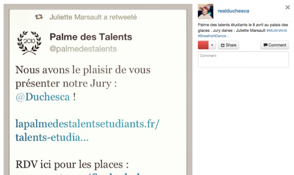 Photo de l'instragram de Juliette 06/04/13
