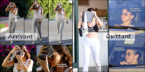 "○ Selena arrivant puis quittant "" Hot Pilates "" à West Hollywood. Le 11 / 11 /2017. Sa tenue est très simple mais j'aime bien. Je lui donne un Top et Vous ?"