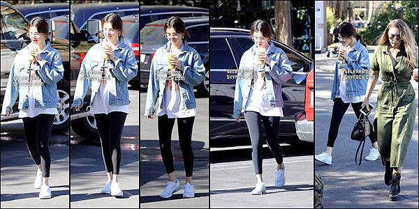 ○ Selena quittant une réunion d'affaires à Los Angeles. Le 08 / 02 / 2018. Sa tenue est très simple mais sa lui va bien. Je lui donne un Top et Vous ?