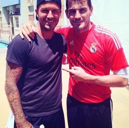 David Beckham lors de l'entrainement du Real Madrid, Le 25/07/2014